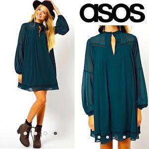 ASOS Swing Dress Chiffon Overlay Vintage Look 10